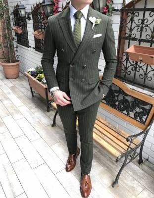 424fbb1f2ec30 Terziademaltun - İtalyan stil erkek ceket pantolon çizgili kruvaze yeşil  takım elbise T3298 ...
