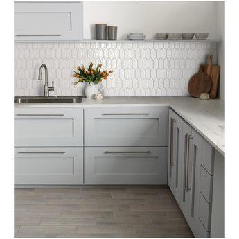 Marazzi LuxeCraft White Picket 11 in. x 12 in. x 6.35mm Glazed Ceramic Mosaic Tile (0.73 sq. ft. / piece)-LC1525PICKHD1P2