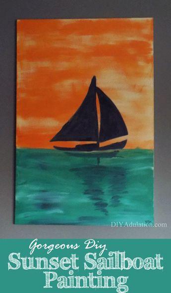 Gorgeous DIY Sunset Sailboat Painting