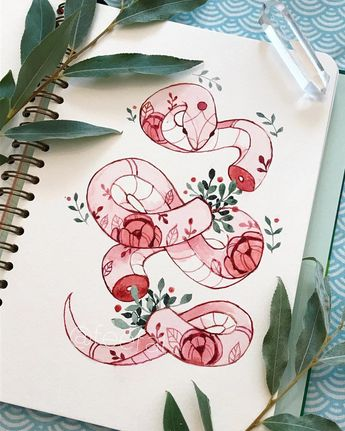Flowery snekk🐍 Inspired by an illustration by Katie Scott! 🌸my idea behind this is that this snake is a flower spirit that grows blossoms…