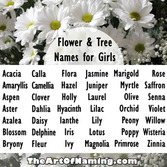 What are your favorite flower or tree names for girls? #babynames  Click to view an even more complete list!