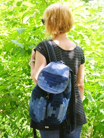 1973f5fe77da10 Unique Patchwork Upcycled Eco Jeans Denim Backpack Sailor Bag Geometric  Blue with Flap