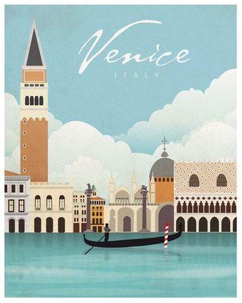 Venice. Italy. Vintage poster. Wall decor art. Illustration. Digital print. City. Travel