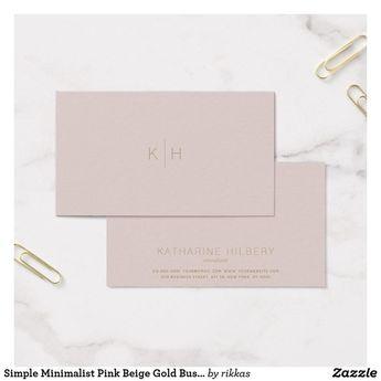Simple Minimalist Pink Beige Gold Business Card   Zazzle.com