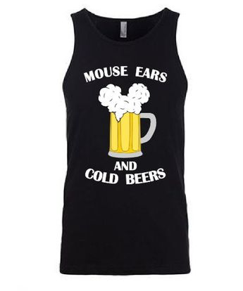 Mouse Ears and Cold Beers - Men - funny going to Disney shirt // custom printed graphic shirt // Mic