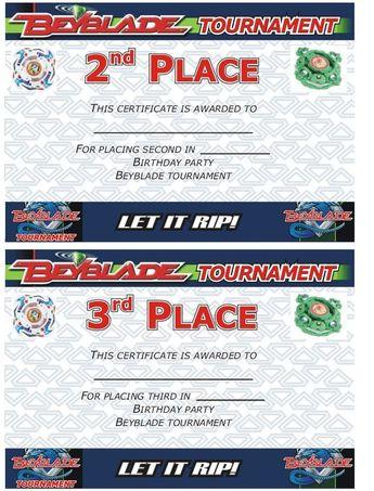5021f90c888b7 Beyblade Tournament Certificate: 2nd an
