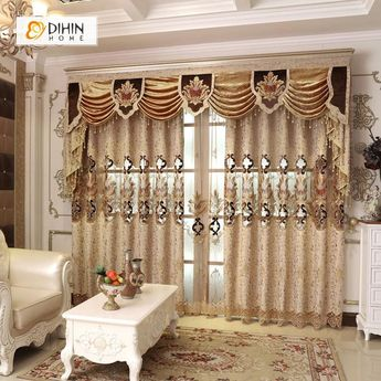 DIHIN HOME Brown Curve Luxury Embroidered Valance ,Blackout Curtains Grommet Window Curtain for Living Room ,52x84-inch,1 Panel
