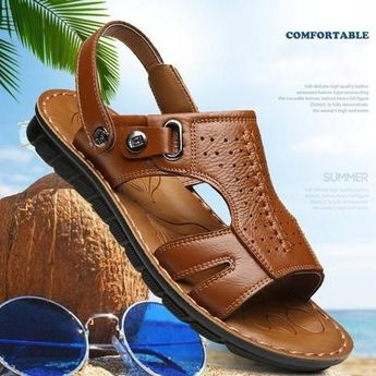 Summer new sandalias hombre men casual shoes comfortable PU leather beach shoes  - Men Sandals - Ideas of Men Sandals #MenSandals -  Summer new sandalias hombre men casual shoes comfortable PU leather beach shoes men sandals slippers sapato masculino  Touchy Style
