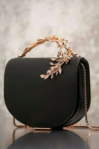 Ralph & Russo  Edec Eclipse Clutch Nightfall Napa with Rose Gold Leaves