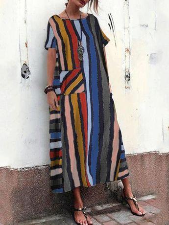 Red Bohemian Multi Color Striped Print Plus Size Maxi Dress