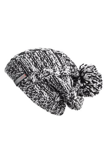 b547bd8ec8f9d Chunky Knit Beanie  slouchy two-tone beanie stitched with chunky cables and  topped by