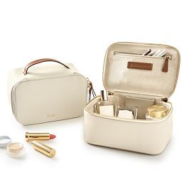 Canvas and Leather Travel Pouch, Small, Light Grey-Tan - Accessories - Pouches + Toiletry Bags