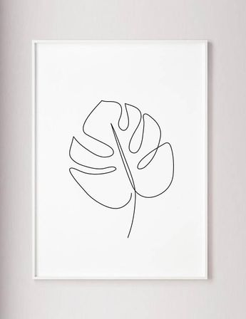 Monstera Leaf Print, Abstract line art, Leaf wall decor, Minimal art, Modern art, wabi sabi style, plants poster, botanic wall print, black