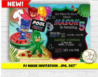 PJ MASK INVITATIONpj Mask Invitation Printablepj Birthday Invitationpj