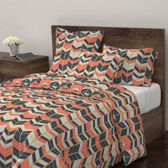 Herringbone Pillow Sham - Coral & Navy Herringbone by kitchenoperas - Boho Chevron Cotton Sateen Pil
