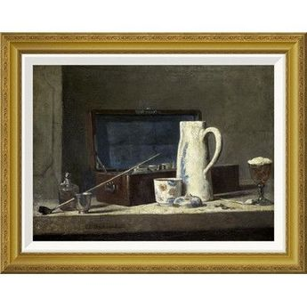 Global Gallery 'Smoking Kit With a Drinking Pot' by Jean-Baptiste-Sim̩on Chardin Framed Painting Print