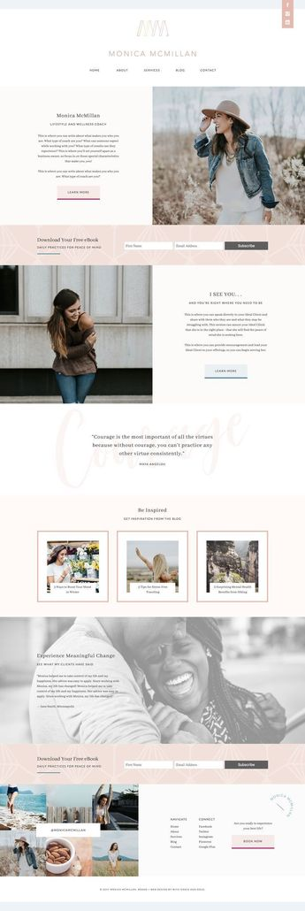 Inspiration site web pour entrepreneur | Custom Web Design for Monica McMillan by With Grace and Gold |  #webdesign #webdesigns #webdesigner #webdesigners #brand #brands #branding