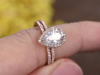 641e3a54316 1.5 Carat Pear Shaped Moissanite Engagement Ring Set Diamond Matching Band  14k Rose Gold Halo Stacking