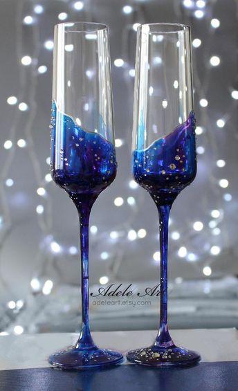 Galaxy Pesronalized Champagne Wedding Flutes, Set of 2, Wedding glasses, universe toasting flutes personalized,luxury traditional