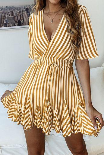Brown Stripe Surplice Mini Dress