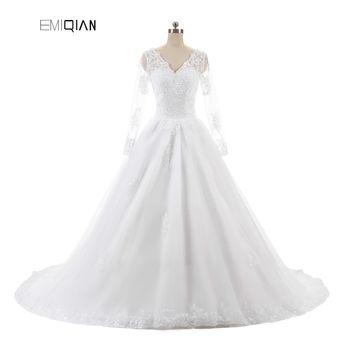1c52ba51835f Vestido de noiva Lace Bridal Gown Cheap A Line V Neck Long Sleeves Zipper  Back Tulle