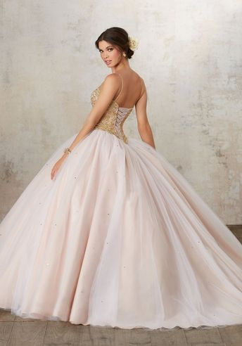 45a2e8962a0 Gold Beaded Sweetheart Quinceanera Dress by Mori Lee Vizcaya 89133