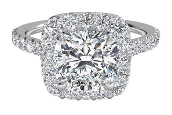 French-Set Halo Diamond Band Engagement Ring - in 14kt White Gold (0.45 CTW) with a 1.14 Carat, Cushion Diamond