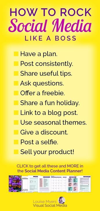 Social media marketing tips for small business and bloggers! Make a plan to post consistently, and attract leads to your business daily. Click to website to buy your Social Media Content Planner with over 150 post ideas each month. | #LouiseM #planner #socialmediamarketing #marketingtips #plannerlove #smm #contentmarketing