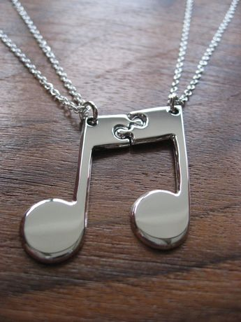 Two Best Friend Necklaces - Silver Music Note Pendants - Interlocking Music Note necklaces