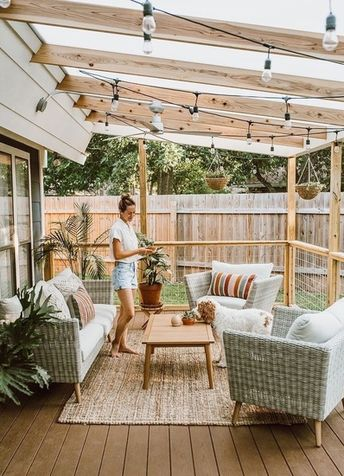 Natural back deck   let's stay home today   #outdoor #ad #shopthelook #deck #rattan #wicker #stringlights #SummerStyle #BeachVacation