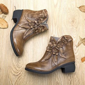 025b75c577f94 SOCOFY Sooo Comfy Vintage Handmade Floral Ankle Leather Boots