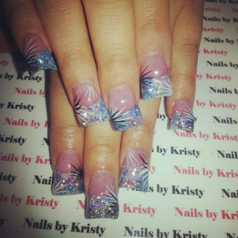 Nails Nailsbykristy Pureplatinumsalonandspa Acrylic Glitter Tips Wide C Cut Curved