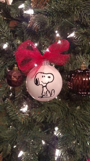 sitting snoopy ornament hand drawn hand made hand painted peanuts charlie