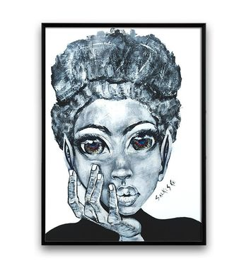 Minimalist Black and White African Art Portrait Painting, Canvas Print, Wall Art, Black and White Wall Art, Wall art, Canvas print