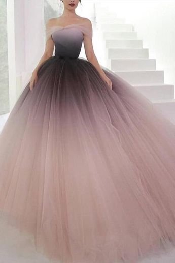 Off the Shoulder Ombre Prom Dresses Backless Tulle Sweetheart Quinceanera Dresses JS710