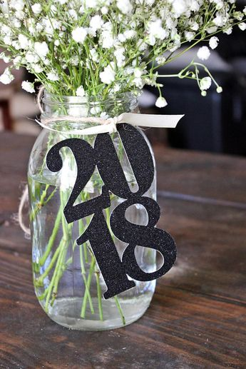 Glitter Graduation Centerpiece / 2019 Graduation Party Decorations / Class of 2019 / Black Prom Decor