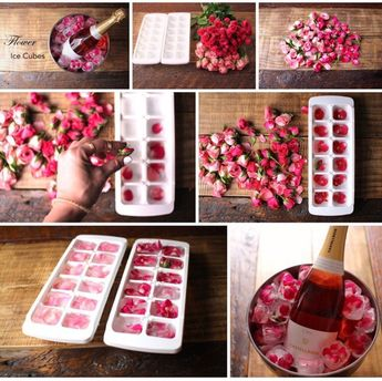 Cute ice decoration with roses! Pop the champagne!