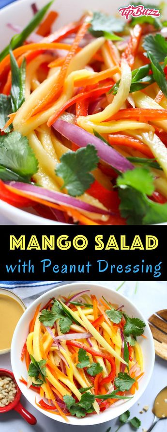 Mango Salad is a quick summer salad recipe that everyone always loves! A rich and creamy Peanut Dressing is tossed with fresh mango, carrots, red bell pepper, red onions and crunchy peanuts to give you the most refreshing salad!