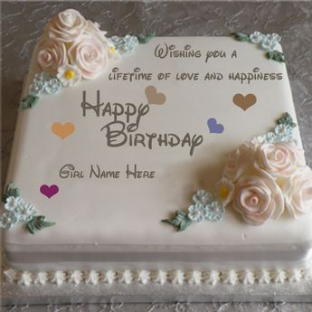 Write Your Friend Name On Violet Flowers Birthday Cake Onli
