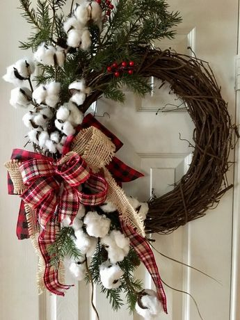 Cotton Christmas Wreath with Plaid and Burlap