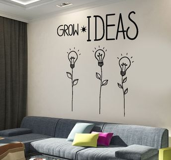 Details about Wall Decal Motivation Quotes Grow Ideas Creative Flower Home Interior z4015