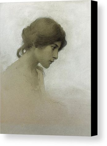 Head Of A Girl Canvas Print / Canvas Art by Franz Dvorak