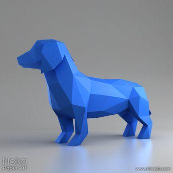 Dachshund - Wiener dog - 3D papercraft model. Downloadable DIY template
