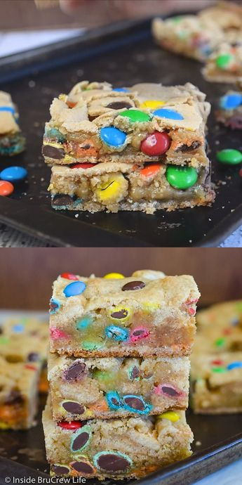 These soft and chewy cookie bars are loaded with lots of colorful candies! Perfect treat for dessert, lunch boxes, or bake sales!