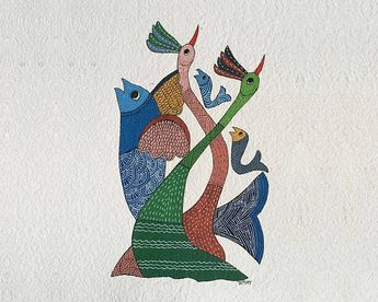 Original Gond Art Painting. Original water colour Painting. Indian tribal painting. Handmade paper. Birds and fish
