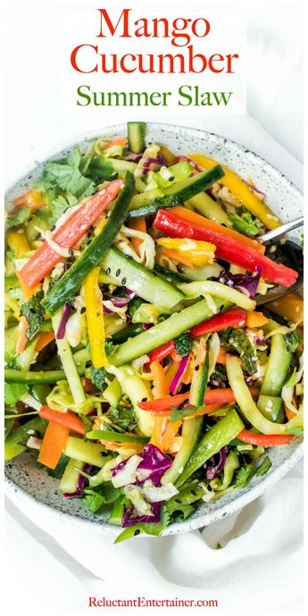 Mango Cucumber Summer Slaw is a cool and crisp side dish perfect for hot weather! Its refreshing, bright, and has a hint of sweetness, perfect for a summer gathering. #summerslaw #mangoslaw #cucumber #healthyrecipes