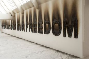 Claire Fontaine, They hate us for our freedom, 2013, matchsticks, dimensions variable, installation view, Museum of Contemporary Art (MAC), .