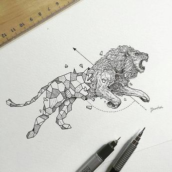 Hi everyone. Such an amazing drawings from the series 'Geometric Beasts' by @kerbyrosanes. Which one do you prefer?
