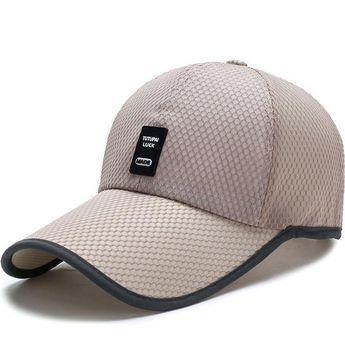 ab88a43f868 Mens Summer Adjustable Mesh Fitted Baseball Caps Male Simple Black Formal  Snapback Dad Hat Fashion Breathable