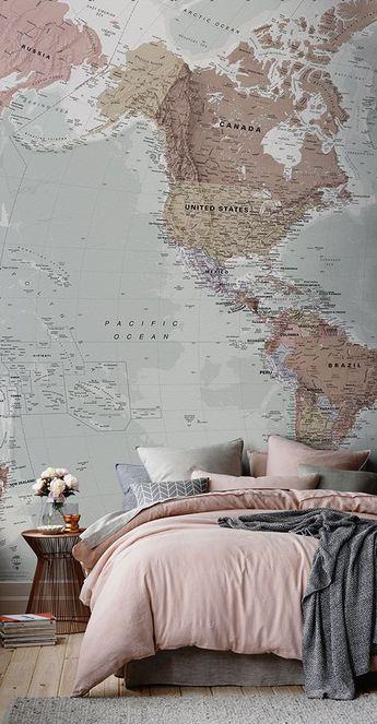 Classic World Map Wallpaper | Stylish Map Mural | MuralsWallpaper